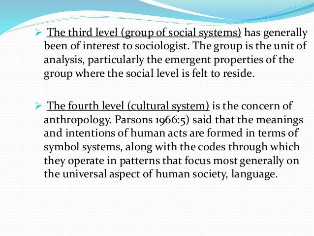  The third level (group of social systems) has generally been of interest to sociologist. The group is the unit of analys...