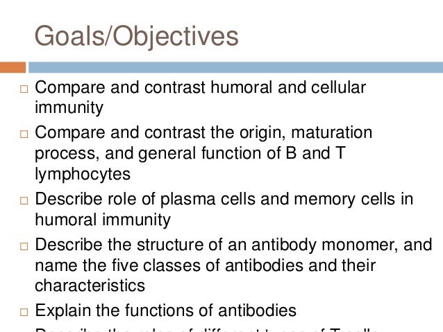 compare and contrast b and t cells