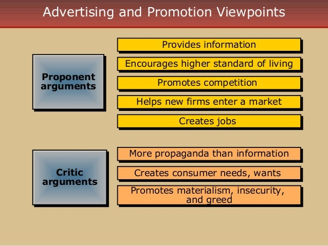 advertising and promotion evaluating arguments Marketing managementpgbm - 15 assignment guide – 2013 -14 module leader: sudipta das email: sudiptadas@sunderlanda.