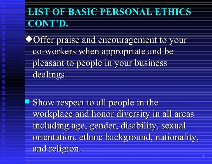 Chapter 22 personal code of ethics 7 list of basic personal ethics publicscrutiny Image collections