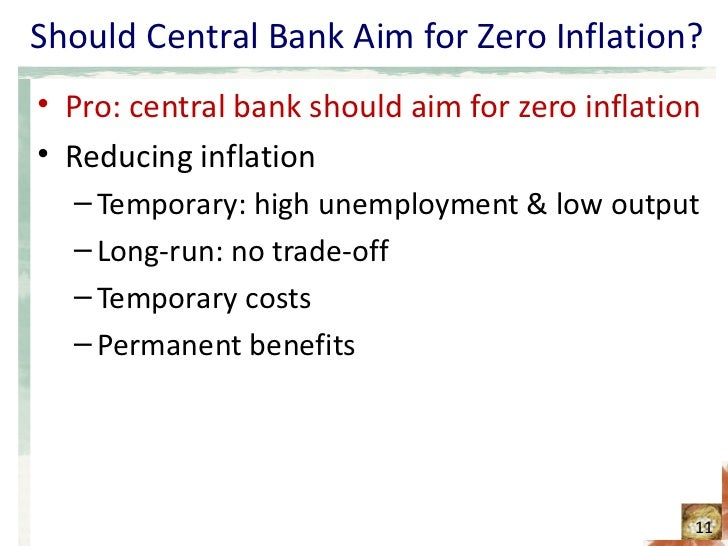 the central bank should aim for Inflation confers no benefit on society, but it imposes several real costs economists have identified six costs of inflation: •shoe leather costs associated with reduced money holdings.