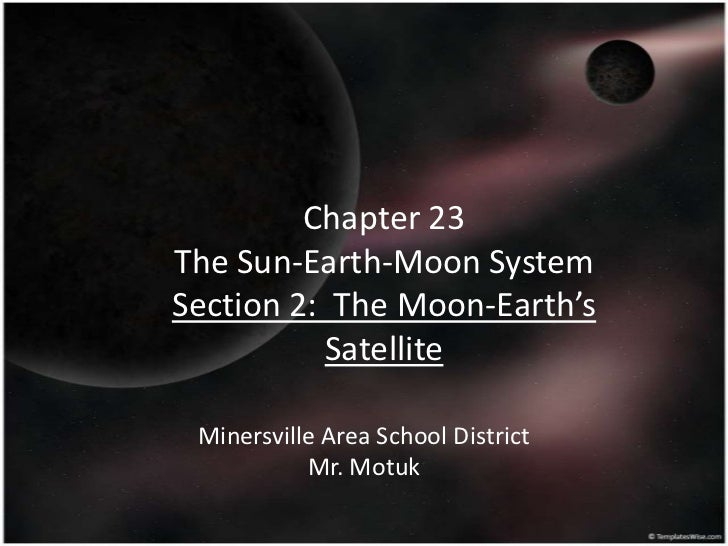 Chapter 23The Sun-Earth-Moon SystemSection 2: The Moon-Earth's          Satellite Minersville Area School District        ...
