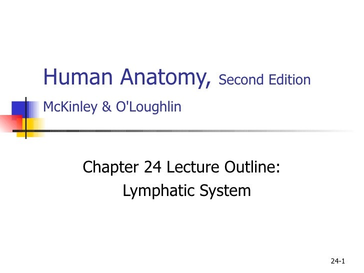Human Anatomy,  Second Edition McKinley & O'Loughlin   Chapter 24 Lecture Outline: Lymphatic System 24-