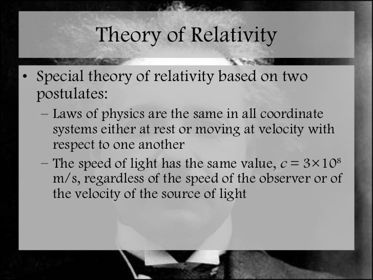 postulates of special theory of relativity pdf