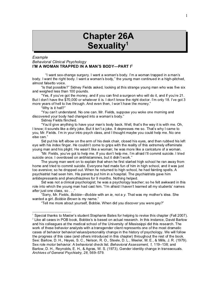 1                                  Chapter 26A                                   Sexuality1ExampleBehavioral Clinical Psyc...