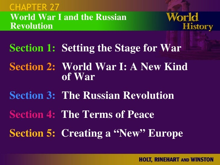 CHAPTER 27 World War I and the Russian Revolution  Section 1: Setting the Stage for War Section 2: World War I: A New Kind...