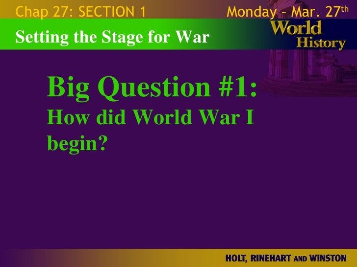 World War 1 - Chapter 27 Slides Slide 2