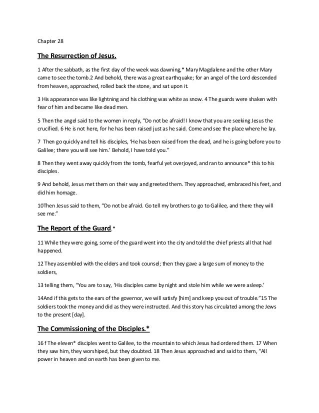 Chapter 28  The Resurrection of Jesus. 1 After the sabbath, as the first day of the week was dawning,* Mary Magdalene and ...