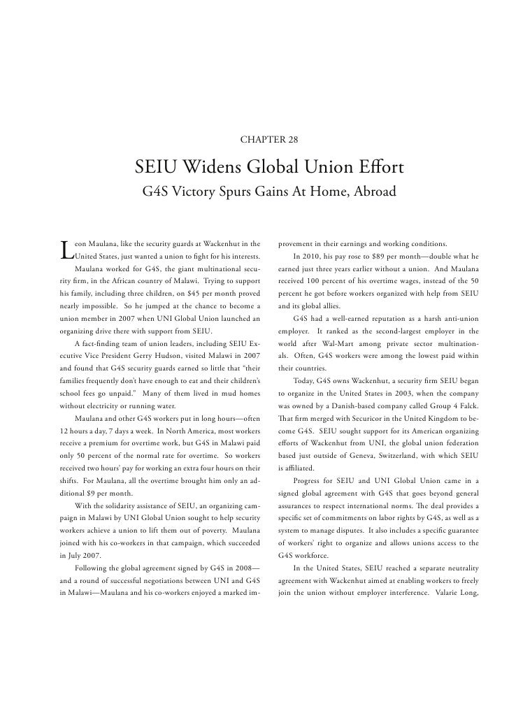CHAPTER 28                        SEIU Widens Global Union E ort                          G4S Victory Spurs Gains At Home,...