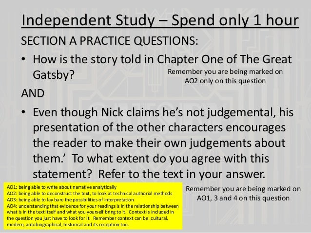 the great gatsby chapters and  independent study spend only 1 hour section a practice questions bull how is the chapter 2 exploring the narrative of the great gatsby