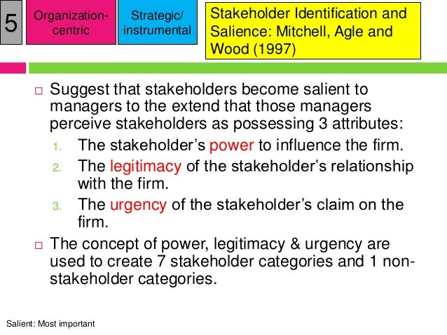 stakeholder attributes stakeholder salience stakeholder management management essay Higher its salience perceived by the management in other words, a stakeholder  with high salience possesses all three attributes (mitchell et al, 1997) agle.