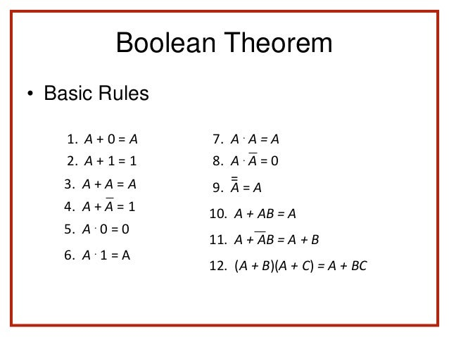 Chapter 2 Boolean Algebra (part 2)