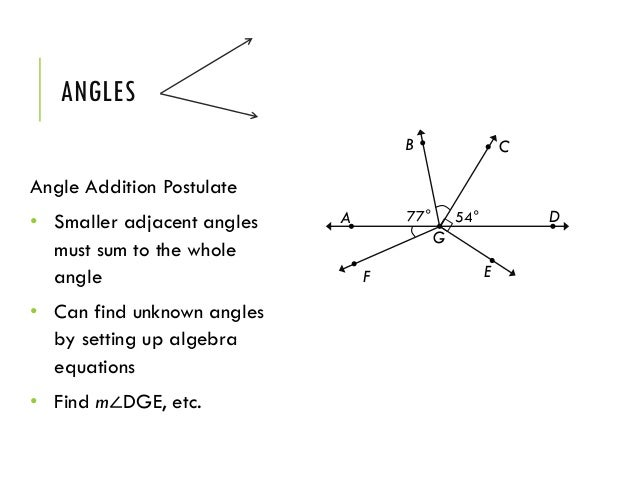 Chapter 2 bt – Angle Addition Postulate Worksheet