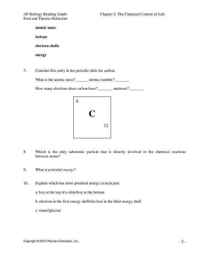 Chemistry Of Life Worksheet - Worksheet
