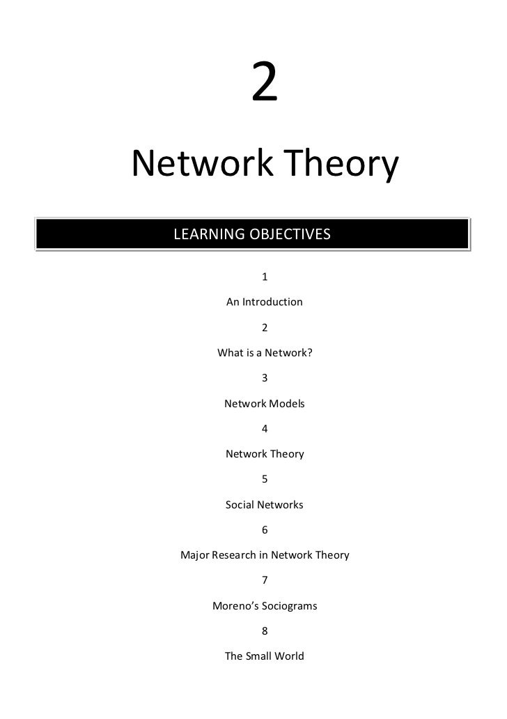 2Network Theory  LEARNING OBJECTIVES                 1          An Introduction                 2        What is a Network...