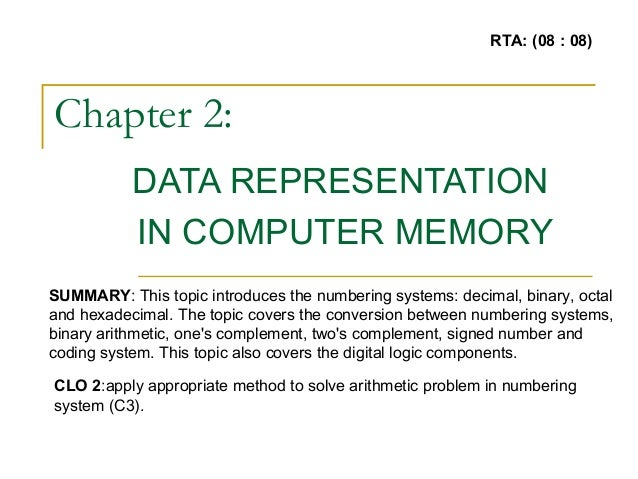 Chapter 2: DATA REPRESENTATION IN COMPUTER MEMORY SUMMARY: This topic introduces the numbering systems: decimal, binary, o...