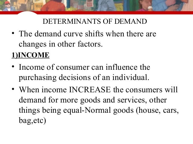 the factors that influence the level of demand a quantity of goods or services consumers will buy at Chapter 7- demand and supply  the process of freely exchanging goods and services between buyers and sellers  price change has little impact on the quantity .
