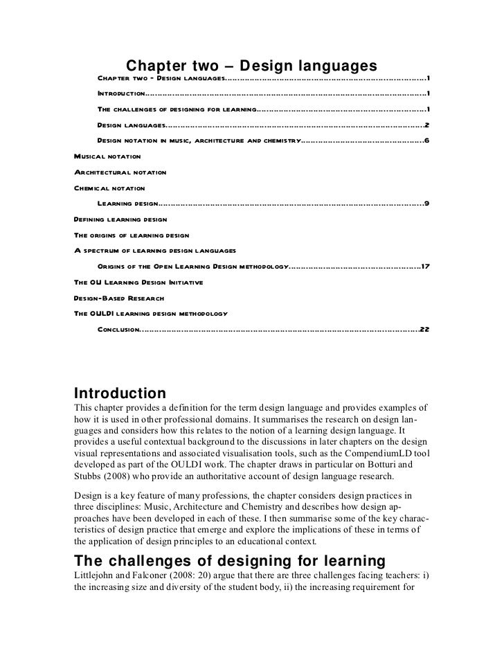 Chapter two – Design languages      Chapter two – Design languages...........................................................