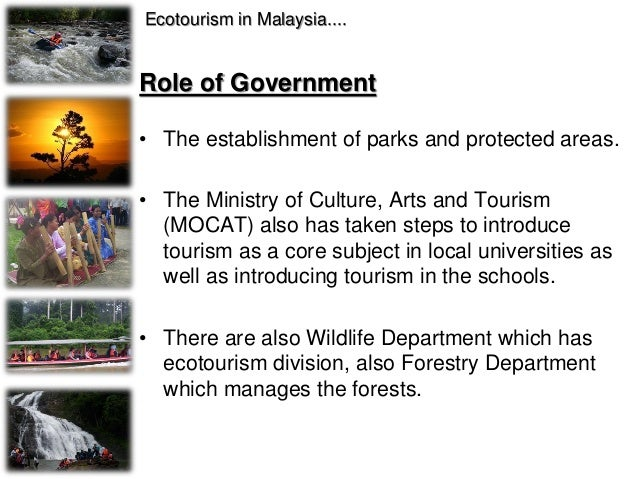 Role of Government • The National Ecotourism Plan which has been prepared by the Ministry of Culture, Arts and Tourism in ...