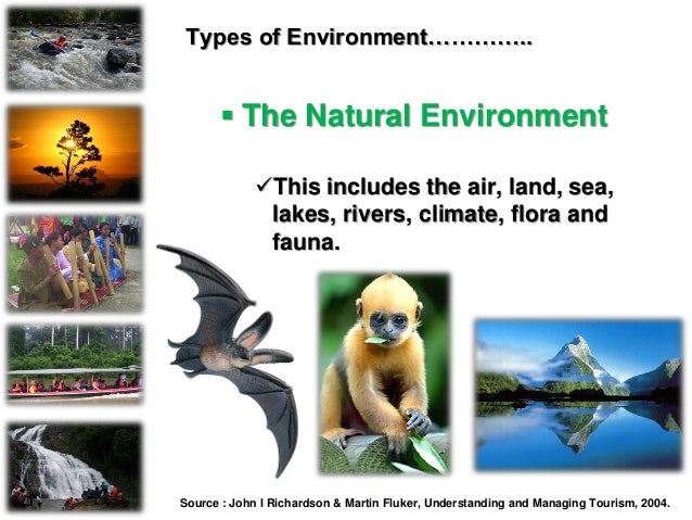 Types of Environment…………..  The Natural Environment This includes the air, land, sea, lakes, rivers, climate, flora and ...