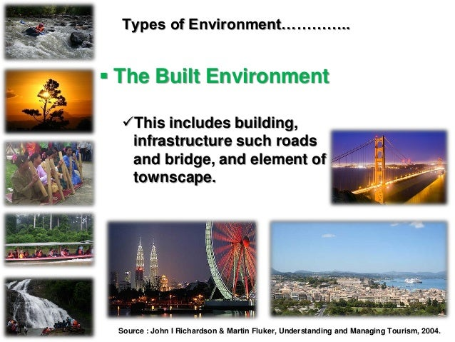 Types of Environment…………..  The Built Environment This includes building, infrastructure such roads and bridge, and elem...