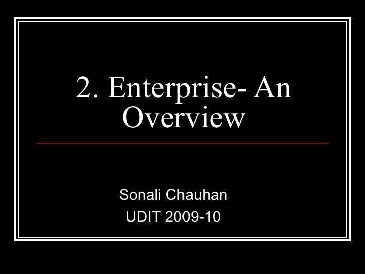 2. Enterprise- An Overview Sonali Chauhan UDIT 2009-10