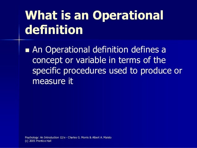 operational definition for pain An operational definition is a demonstration of a process - such as a variable, term, or object - relative in terms of the specific process or set of validation tests.