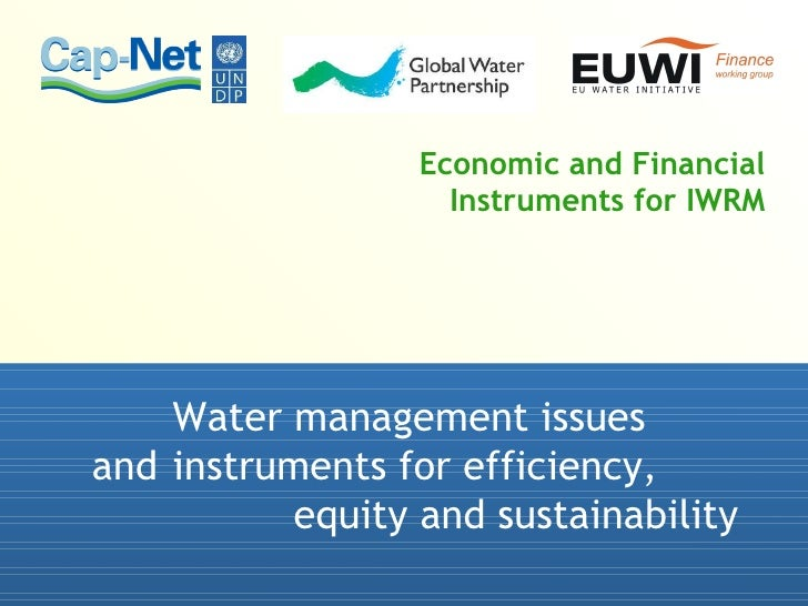 Economic and Financial Instruments for IWRM Water management issues  and  instruments for efficiency, equity and sustainab...