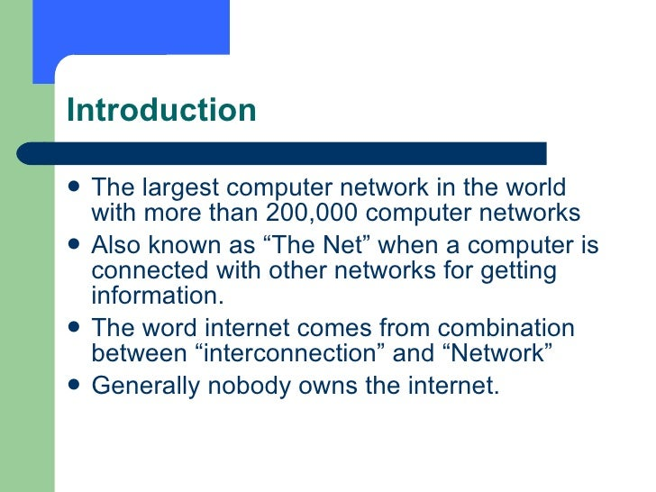 an introduction to the origins of the internet advanced research project agency network arpanet The history of networking  -program arpanet (advanced research project agency network) is the precursor of today's internet tcp ip (protocol) was established.