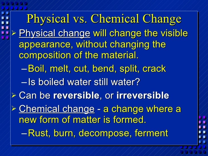 Is Gas At Room Temperature Physical Or Chemical Change