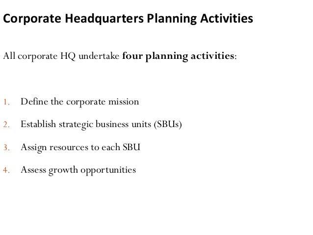 Corporate Headquarters Planning Activities All corporate HQ undertake four planning activities: 1. Define the corporate mi...