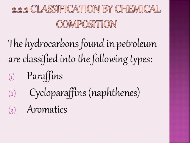 Classifications of Crude Oil