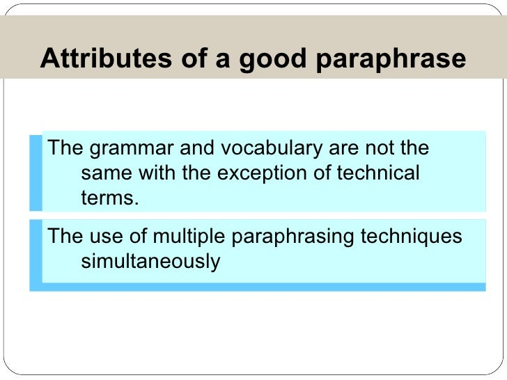 Useful words for paraphrasing