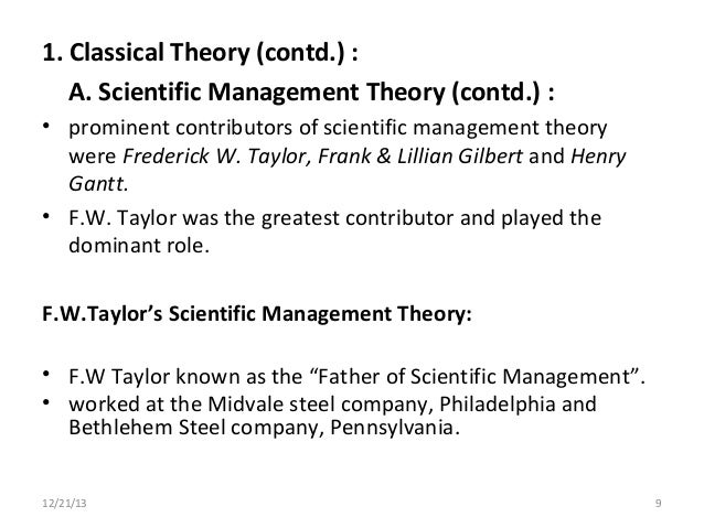 scientific management theory essay This essay discusses the enduring legacies of fredrick taylor's scientific  management in american schools and contends that  longer a visible  presence in educational theory, his ideas deeply influenced contemporary beliefs  about the.