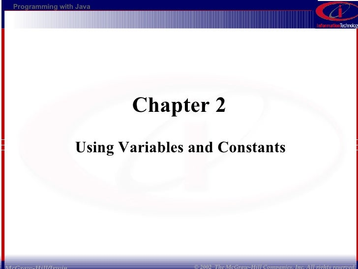 Chapter 2  Using Variables and Constants