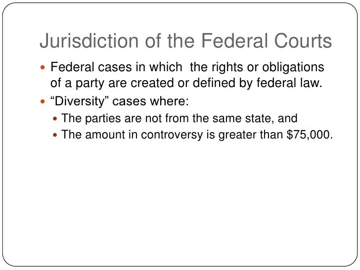 Jurisdiction of the Federal Courts  Federal cases in which the rights or obligations   of a party are created or defined ...