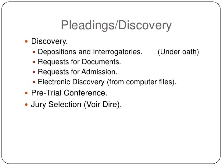 Pleadings/Discovery  Discovery.    Depositions and Interrogatories.     (Under oath)    Requests for Documents.    Req...