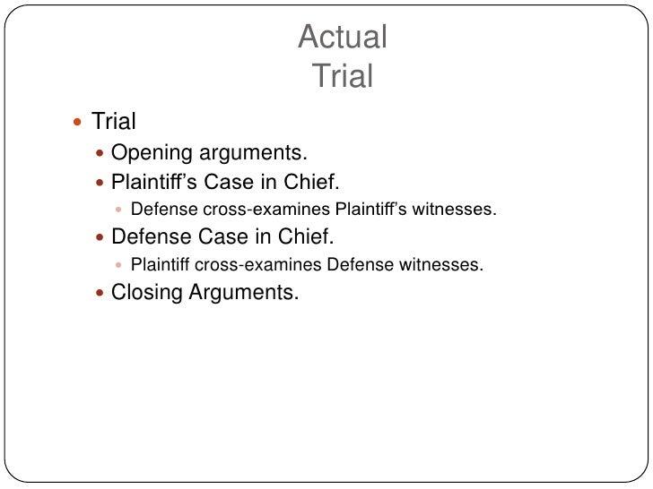 Actual                            Trial  Trial    Opening arguments.    Plaintiff's Case in Chief.      Defense cross-...