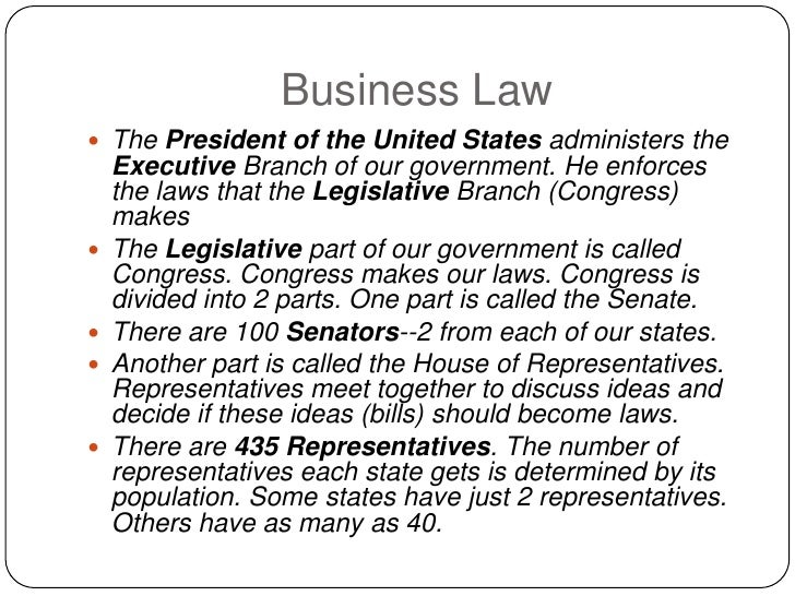 Business Law  The President of the United States administers the     Executive Branch of our government. He enforces     ...