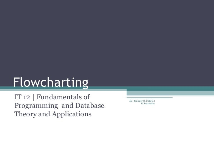 Flowcharting IT 12 | Fundamentals of Programming  and Database Theory and Applications Ms. Jennifer O. Calleja | IT Instru...