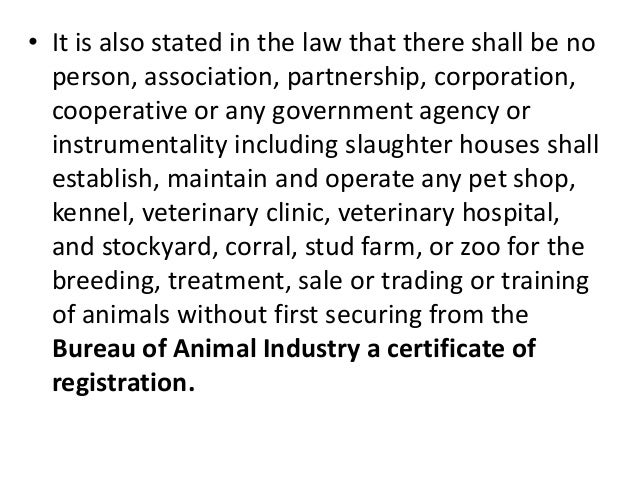 • It is also stated in the law that there shall be no person, association, partnership, corporation, cooperative or any go...