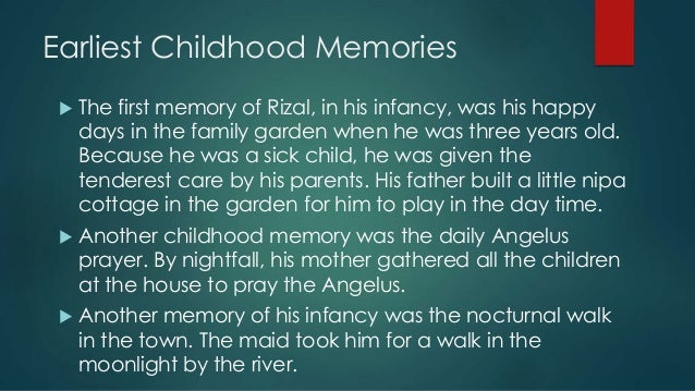 Childhood of Rizal Sample Essay