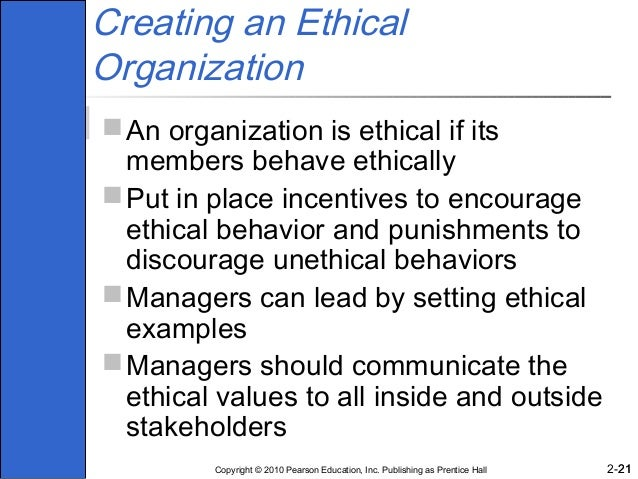 what can managers do to promote ethical behavior within an organization Managers and ethics: the importance of 'tone in the middle'  purpose of the organization if an organization does those things, the employee's productivity.