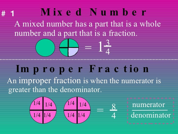Mixed Number <ul><li>A mixed number has a part that is a whole number and a part that is a fraction. </li></ul>= 1 3 4 #1 ...