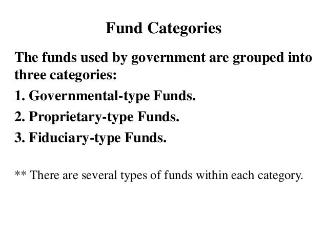 Fund Categories The funds used by government are grouped into three categories: 1. Governmental-type Funds. 2. Proprietary...