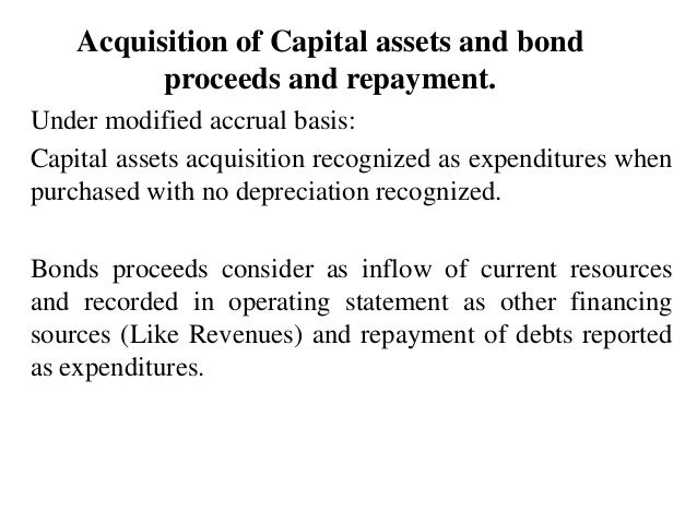 Acquisition of Capital assets and bond proceeds and repayment. Under modified accrual basis: Capital assets acquisition re...