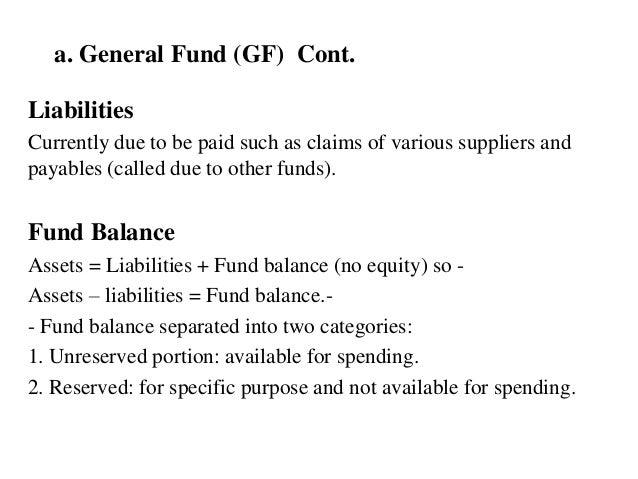 a. General Fund (GF) Cont. Liabilities Currently due to be paid such as claims of various suppliers and payables (called d...