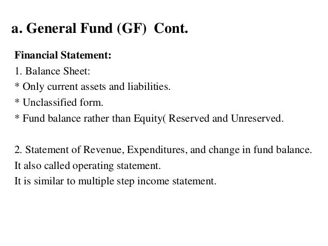 a. General Fund (GF) Cont. Financial Statement: 1. Balance Sheet: * Only current assets and liabilities. * Unclassified fo...