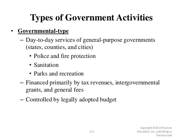 Types of Government Activities • Governmental-type – Day-to-day services of general-purpose governments (states, counties,...