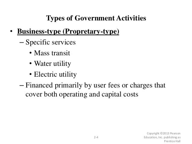 Types of Government Activities • Business-type (Propretary-type) – Specific services • Mass transit • Water utility • Elec...